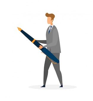 Homem negócios, segurando, caneta enorme, vetorial plana, personagem