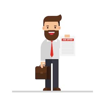 Homem negócios, segurando, em, mão, um, oferta trabalho