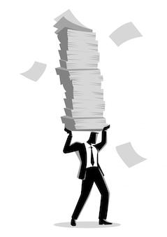 Homem negócios, segurando, muitos, documentos