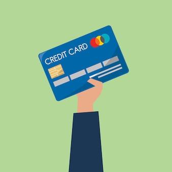 Homem negócios, segurando, um, cartão crédito