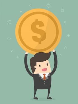 Homem negócios, segurando, um, moeda