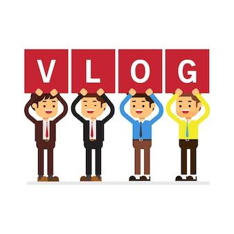 Homem negócios, segurando, 'vlog', letras