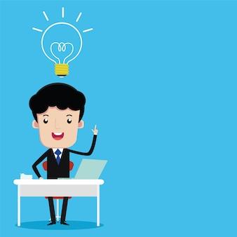 Homem negócios, sentando, escrivaninha, trabalho, vetorial, caricatura
