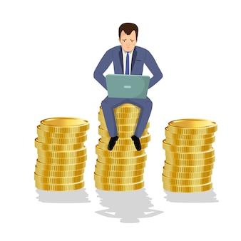 Homem negócios, sentando, ligado, moedas ouro
