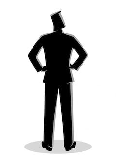 Homem negócios, silueta, estar, vista traseira