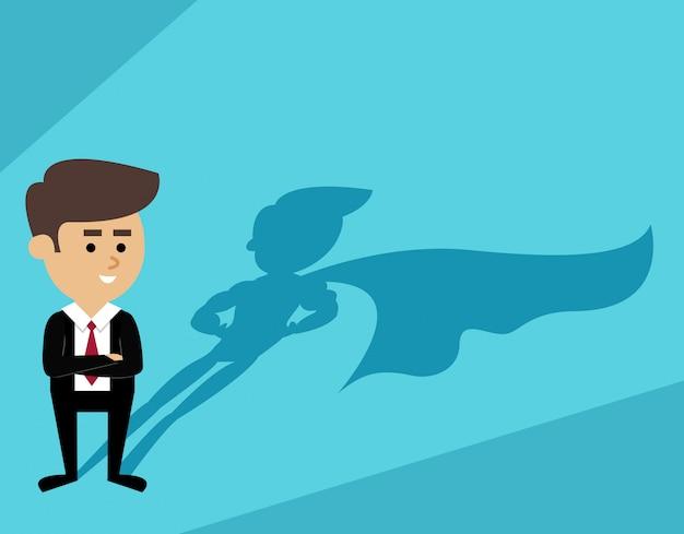 Homem negócios, sombra superman