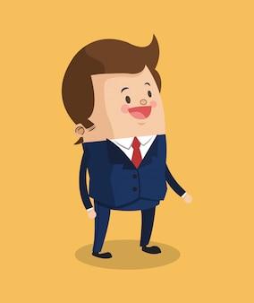 Homem negócios, sorrindo, caricatura