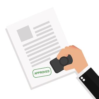 Homem negócios, stamping, notário, aprova um, documentos