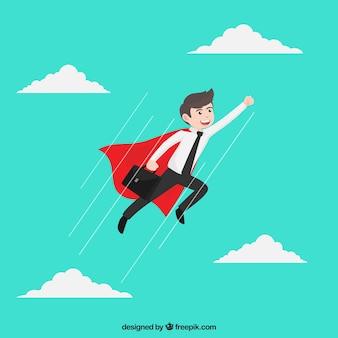 Homem negócios, super-herói, capa