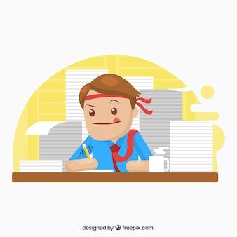 Homem negócios, trabalhando, difícil
