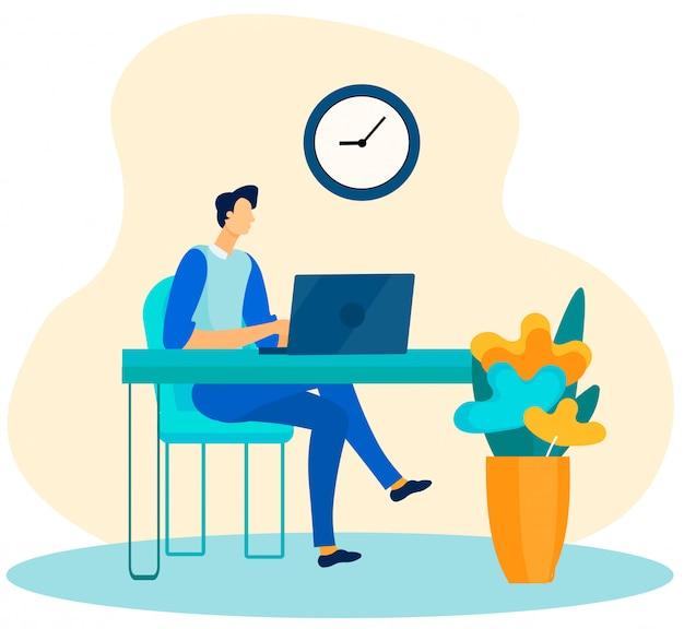 Homem negócios, trabalhando, laptop, em, escritório, caricatura