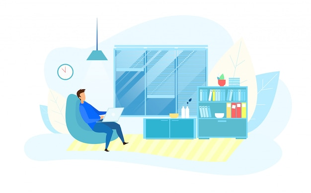 Homem negócios, trabalhando, overtime, em, modernos, tech, escritório