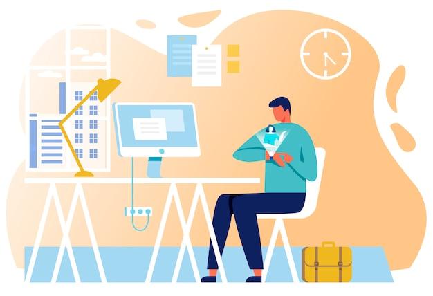 Homem negócios, usando, esperto, relógio, comunicação