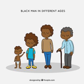 Homem negro em diferentes idades na mão desenhada estilo