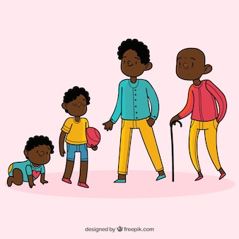 Homem negro em diferentes idades