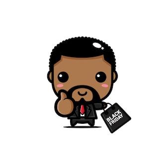 Homem negro fofo com sacola de compras preta sexta-feira
