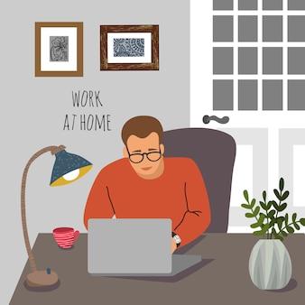Homem no balcão com um laptop no interior do apartamento.