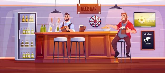 Homem no bar de cerveja. o visitante no bar senta-se no tamborete alto na mesa de madeira com a bebida de derramamento do empregado de bar ao copo. ilustração dos desenhos animados