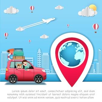 Homem no carro viajar ao redor do conceito de mundo.
