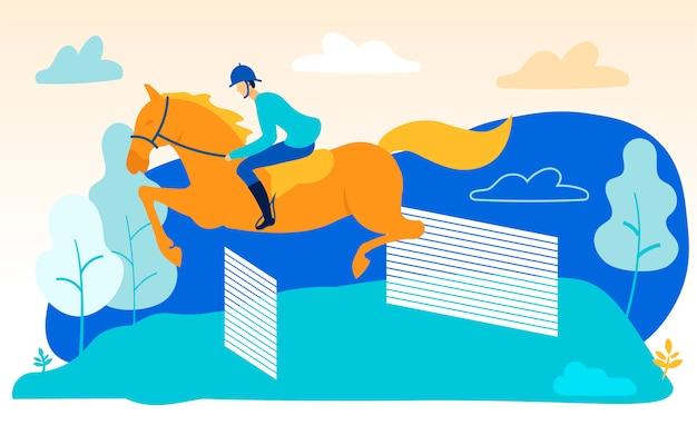 Homem no cavalo pula sobre barreiras. cavalgando
