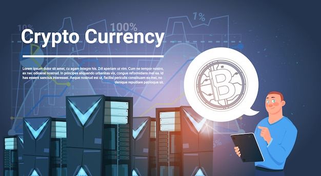 Homem no conceito moderno do dinheiro da web da moeda de crypto da exploração agrícola de mineração de bitcoin do centro de dados