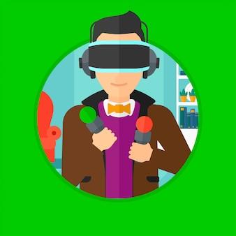 Homem no fone de ouvido de realidade virtual, jogar video game.
