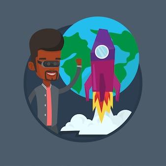Homem no fone de ouvido vr voando no espaço aberto.