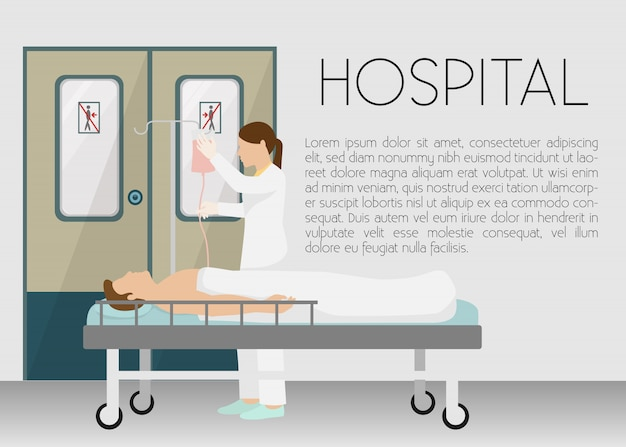 Homem no hospital na ilustração da bandeira de gotejamento. jovem dos desenhos animados, deitada na cama com infusor.