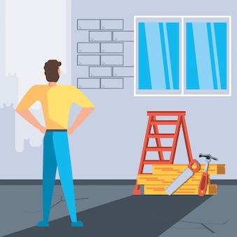 Homem no interior da casa em construção