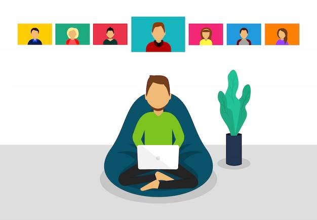 Homem no laptop. videoconferência. reunião online. chamada de vídeo em grupo. estilo simples.