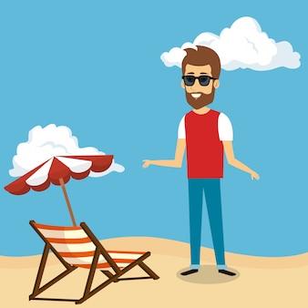 Homem no personagem de praia