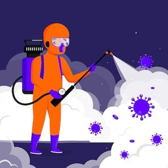 Homem no processo de desinfecção de materiais perigosos
