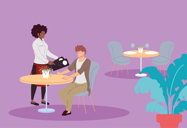 Homem no restaurante e garçonete de uniforme anotando o pedido. desenho de ilustração