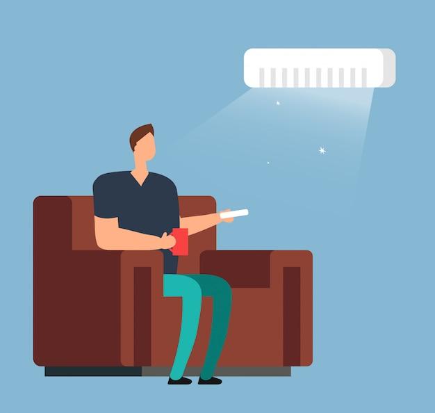 Homem no sofá sob o condicionamento de ar. conceito de vetor de controle de clima de quarto