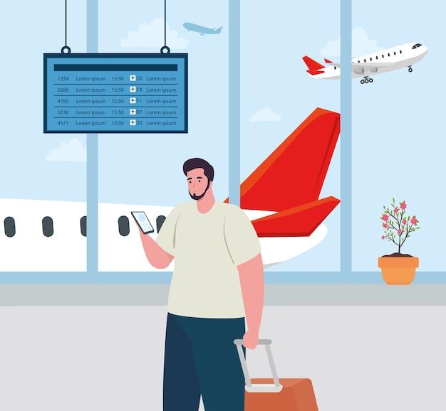 Homem no terminal do aeroporto, passageiro no terminal do aeroporto com bagagens