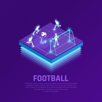 Homem no vr auricular e jogadores virtuais durante a composição isométrica de jogo de futebol em roxo