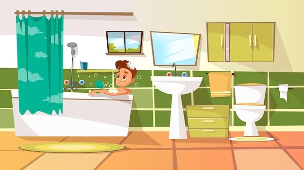 Homem novo dos desenhos animados que tem o banho na banheira. ilustração com homem relaxante no banho de espuma