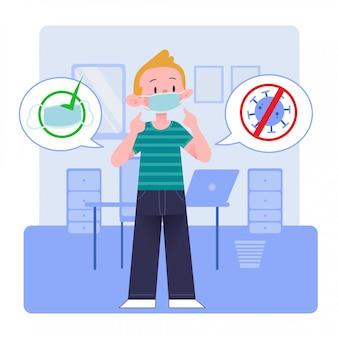 Homem novo ou menino ou homem ou pessoa ou caráter que desgasta a máscara médica em casa ou no escritório. design plano. conceito de ilustração. isolado.