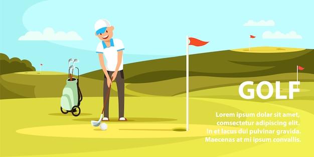 Homem novo que guarda o clube de golfe que tenta bater a bola.
