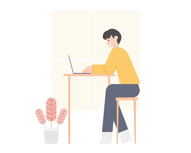 Homem novo que usa o laptop em casa. trabalhe em casa conceito. inteligente trabalhando on-line. local de trabalho de escritório em casa.
