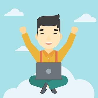 Homem, nuvem, laptop