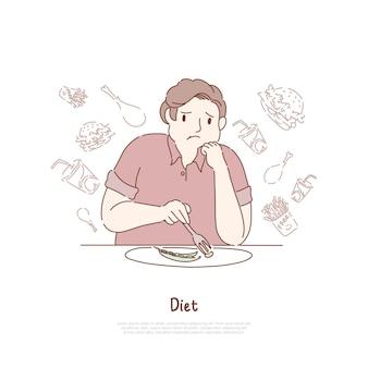 Homem obeso infeliz comendo feijão
