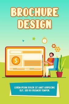Homem observando a taxa de câmbio no monitor do computador. prêmio em dinheiro, ilustração em vetor plana de venda de loja online