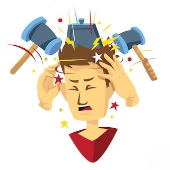 Homem, obtendo, dor de cabeça, ilustração