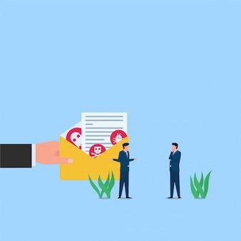 Homem oferecer e-mail com trojan escondido dentro da metáfora do hack e engenharia social. ilustração de conceito plana de negócios.