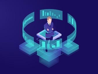 Homem olha gráfico gráfico, conceito de análise de negócios, grande ícone de processamento de dados
