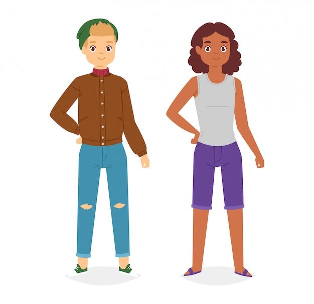 Homem olha moda personagem roupas vetor menino desenhos animados vestem roupas com calças ou sapatos da moda