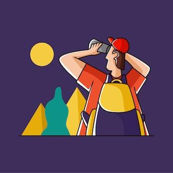 Homem olhando a lua com um telescópio
