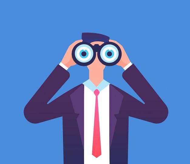 Homem olhando através de binóculos. estamos contratando, recrutando e vendo o conceito de vetor de negócios