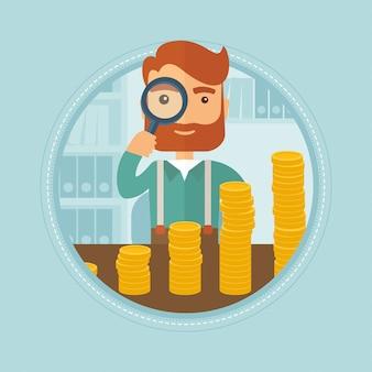 Homem olhando através de lupa para moedas de ouro.